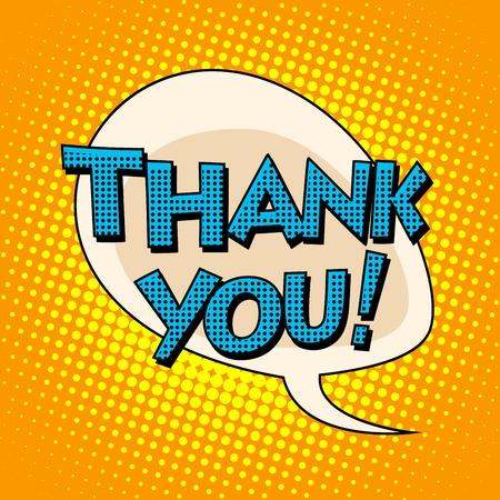 thank: Thank you comic bubble retro text pop art style