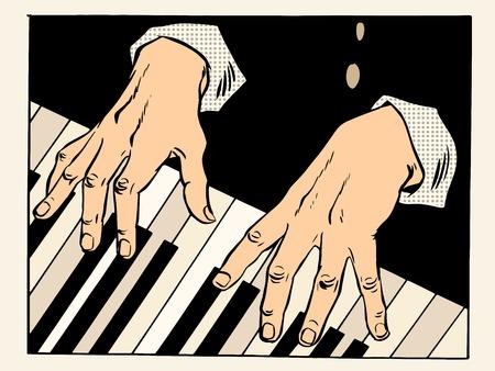pianista: Las teclas del piano pianista manos. La m�sica y el arte cl�sico, estilo retro pop art creatividad Vectores