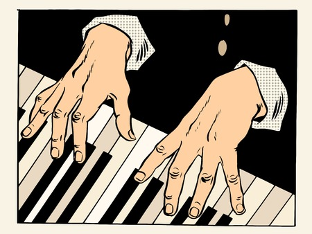 classical style: The piano keys pianist hands. Music and classical art, creativity pop art retro style