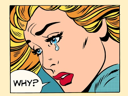 human eye: Why girl crying pop art retro style. Beautiful woman blonde. Human emotions sadness grief love