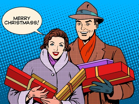 romance love: Happy couple with Christmas gifts pop art retro style. Christmas sale. Family love relations Illustration
