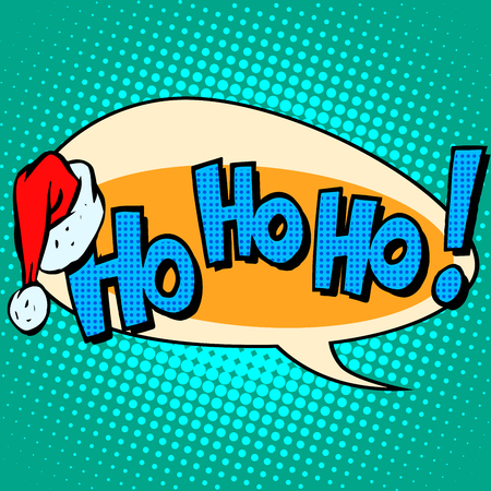 HoHoHo Santa Claus good laugh comic bubble text. Ho-Ho-Ho the voice of Christmas character. Hat Of Santa Claus pop art retro style 일러스트