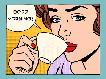 calor: Chica buena mañana con la Copa del estilo del arte pop retro café. Mujer hermosa que tiene desayuno en la mañana