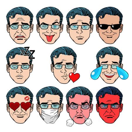 enamorados caricatura: Establecer Emoji emociones hombres estilo del arte pop retro. Establecer Emoji emociones hombres. Alegr�a chistes amor duelo sonr�en a la ira de la enfermedad y otras personas en la colecci�n retro