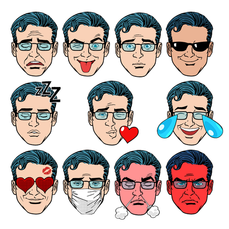boss cartoon: Set Emoji emotions men pop art retro style. Set Emoji emotions men. Joy love grief jokes smile the wrath of disease and other persons in the retro collection Illustration