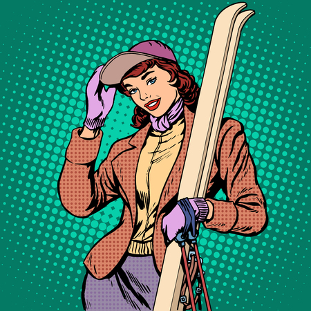 Woman skier winter pop art retro style. The winter sports. Girl with skis