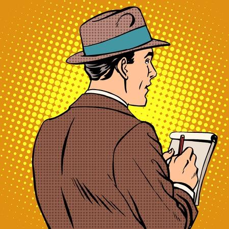 back view man: journalist interviews notepad pop art retro style. Man back, taking notes
