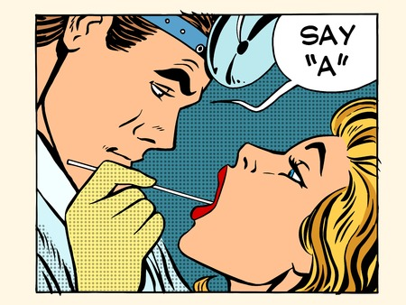 dentist cartoon: the otolaryngologist examines the throat pop art retro style. A man inspects a woman throat