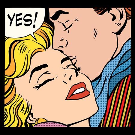 カップルはいポップアート レトロなスタイルが大好きです。男は、女性をキスします。関係とロマンス