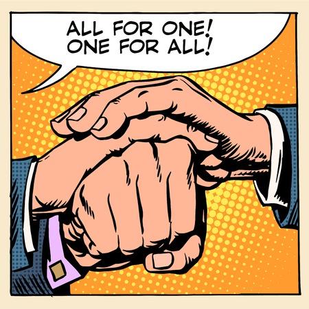 manos juntas: Amistad solidaridad uno para todos Todos para uno estilo del arte pop retro Vectores