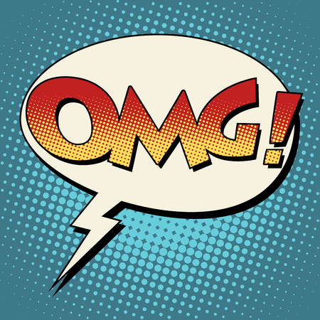 OMG surprise comic bubble retro text pop art style Illustration