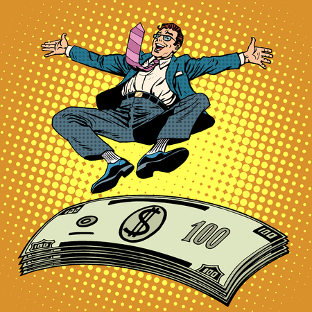 Business success businessman money trampoline pop art retro style. Financial wealth income of a millionaire. Cash prize. Stack of dollars Ilustracja
