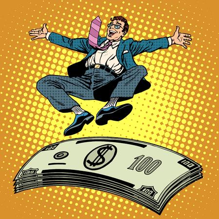 hombre millonario: El �xito del negocio de estilo empresario dinero trampol�n arte pop retro. El ingreso de la riqueza financiera de un millonario. Premio en efectivo. Pila de d�lares Vectores