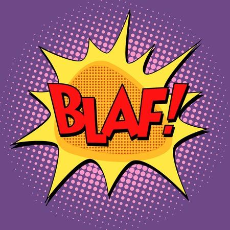 BLAF komische bubble retro tekst pop art-stijl. Wolk met inscriptie op halftone met het effect van de simulatie van het raster. Element voor de achtergrond