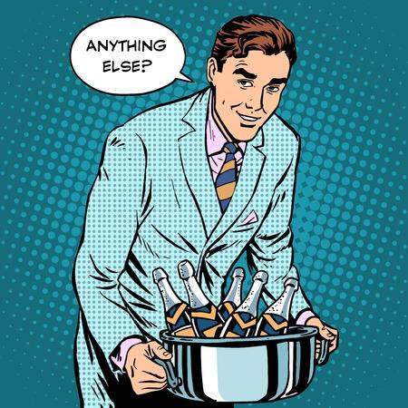Cualquier otra cosa que el camarero con botellas de champán en el estilo retro del arte pop restaurante. bebidas alcohólicas Gala cena de celebración. negocio de los restaurantes de servicio Foto de archivo - 49339504