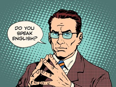 conversaciones: Maestro habla usted del estilo del arte pop retro Inglés. El enseñanza de las lenguas extranjeras. Traductor y profesor. profesional hombre fuerte