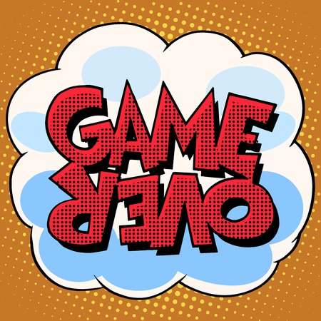 computer art: Game over comic bubble retro text pop art style. Cloud with inscription on halftone with the effect of the simulation of the raster. Element for the background Illustration