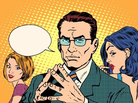 La psicologia di uomini e donne pop art stile retrò. Amore e le relazioni. Il matrimonio e la famiglia Archivio Fotografico - 49339510