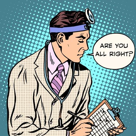 환자의 팝 아트 복고 스타일로 이야기 의료 연구 의사입니다. 병원 및 치료. 의료 노동자의 직업. 테스트 및 설문 조사