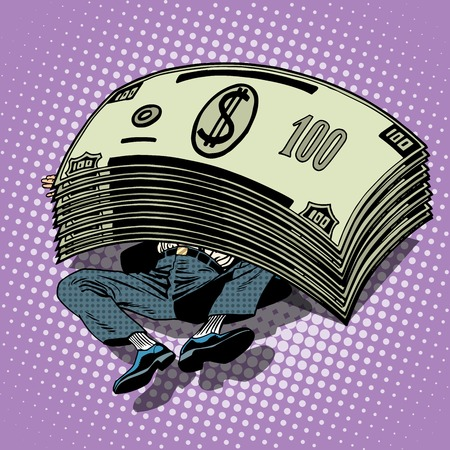 Businessman buried money wealth financial success pop art retro style. Millionaire under the stack of dollars. Business profits Illustration