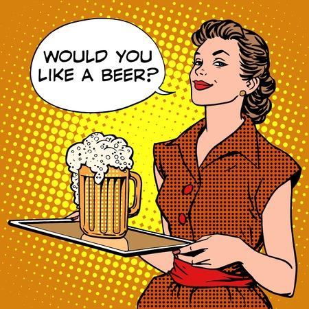 Piwo Kelnerka na tacy stylu pop art retro. Festiwal piwa lub restauracji. Napoje alkoholowe. Czy chcesz piwo