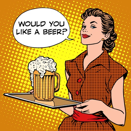beer festival: The waitress beer on a tray pop art retro style. Beer festival or a restaurant. Alcoholic beverages. Would you like a beer Illustration