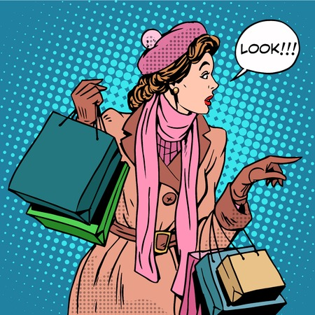 Woman shopping buy discounts look pop art retro style. Holiday sale stores and shopping malls. Girl Shopaholic. The interest in new products Ilustracja