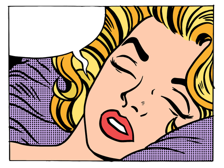 romance bed: Beautiful woman blonde sleeps and dreams pop art retro style. Girls and their desires. The night and morning. Soft bed