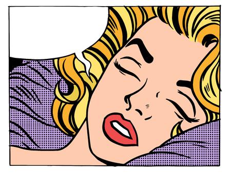 Belle femme dort et rêve blondes pop rétro style d'art. Les filles et leurs désirs. La nuit et le matin. Lit moelleux Banque d'images - 49339700