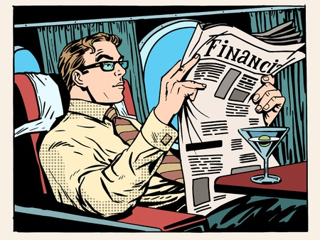 Business class plane businessman reading Newspapers and drinking a cocktail pop art retro style. Travel and business trips. Transport and aircraft. News and financial advice