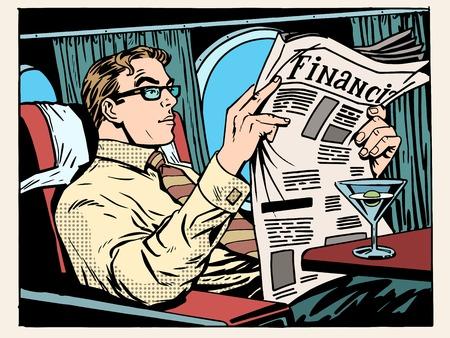 Business class vliegtuig zakenman lezen van kranten en het drinken van een cocktail pop art retro stijl. Reizen en zakenreizen. Transport en vliegtuigen. Nieuws en financieel advies Stock Illustratie