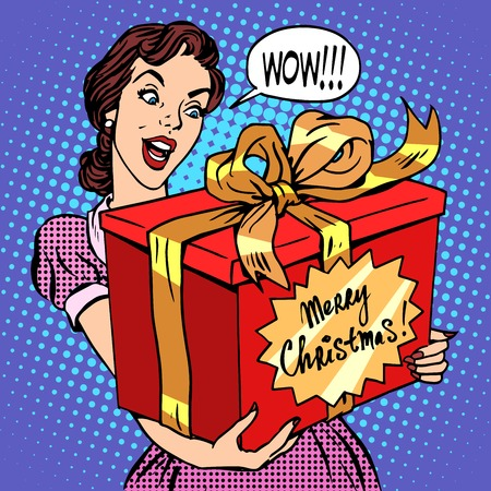 Woman with Christmas gift pop art retro style. Beautiful girl with a big red box with the words merry Christmas. Celebrations and congratulations. Family and joy Vectores