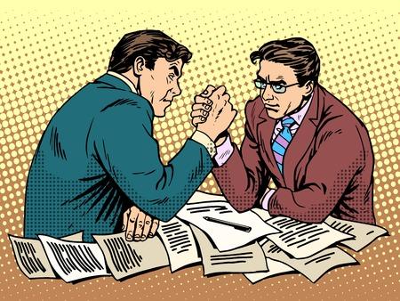Arm worstelen zakelijke concurrentie pop art retro stijl. Twee zakenman vechten met elkaar. Men kracht battle Stock Illustratie