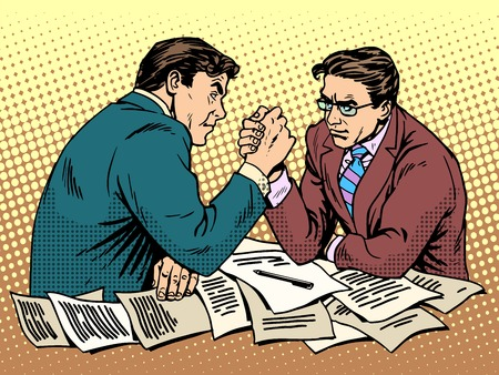Arm wrestling business competition pop art retro style. Two businessman are fighting each other. Men force battle