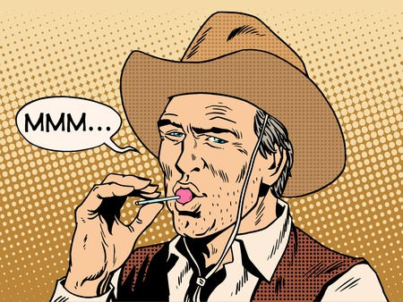 stern: The cowboy and Lollipop pop art retro style. The food and sweets. A stern man and little weakness
