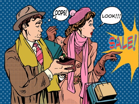 Husband and wife Christmas sales pop art retro style. The woman is a Shopaholic and a man without money in your wallet. Holiday spending finances. Ilustração