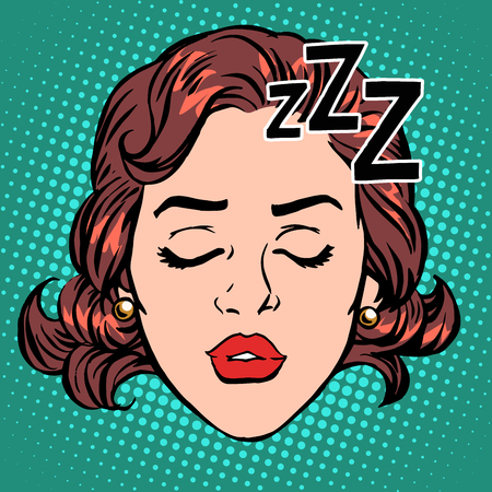 Emoji icon woman face sleep pop art retro style. Rest and hibernation. A stylized image for computer icons and t-shirt  イラスト・ベクター素材