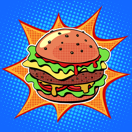 cheese cartoon: Fast food Burger with sesame meat salad and cheese pop art retro style. Healthy and unhealthy food. Restaurant business. Colorful image of a sandwich on a retro background in the style of comics
