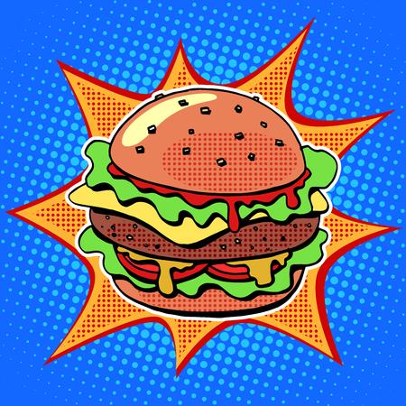 pepino caricatura: Hamburguesa de comida rápida con ensalada de carne de sésamo y el estilo retro del arte pop queso. alimentos saludables y no saludables. Negocio de los restaurantes. Imagen colorida de un sándwich en un fondo retro en el estilo de los cómics