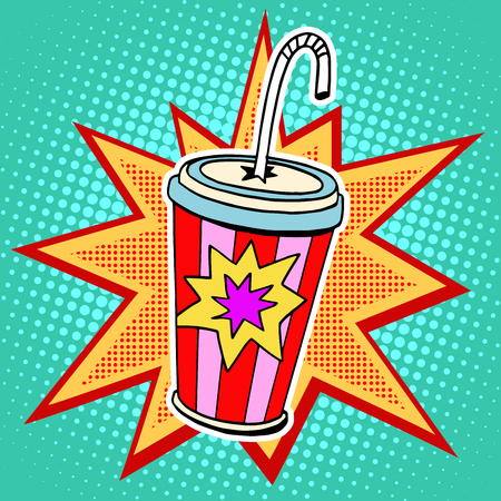 Cola paper cup straw fast food pop art retro style. Restaurants and entertainment. Sweet refreshing in the heat of the drink. Childhood and joy. Advertising poster retro background in the style of a comic book Vettoriali