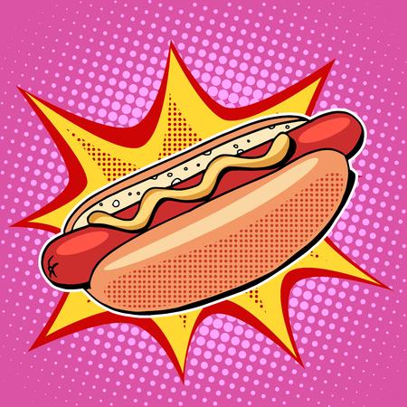 ホットドッグ ファーストフード ベクトル ポップアートのレトロなスタイル。レストランや屋台の食べ物。ソーセージとマスタードのパンで。健康