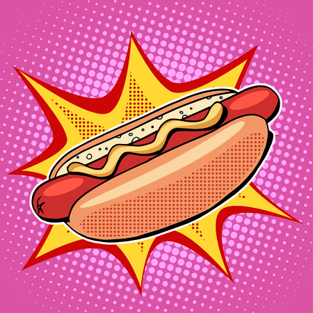 hot: Hot dog fast food vector pop art retro style. Restaurants and street food. Sausage in the bun with mustard. Healthy and unhealthy food. Menu comic style