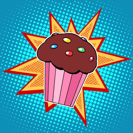 candy cartoon: Muffin cake sweet food pop art retro style. Childhood and cooking. Restaurants fast food the holidays and birthdays. Children menu