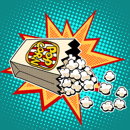 Popcorn sweet and savory corn pop art retro style. Fast food in the cinema. Healthy and unhealthy foods. Childhood and entertainment