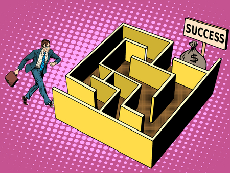 optimism: The labyrinth path to success business concept pop art retro style. Businessman go to financial profit. Optimism and challenges. Problem solving. Bag of money