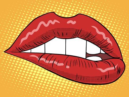 sexo femenino: estilo de los labios rojos de la mujer del arte pop retro. Pedazo de una persona. La moda y la belleza. Un símbolo del amor. sentimientos emociones