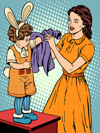 comic art: Carnival mother of the child dresses up in a Bunny costume pop art retro style. Childhood and motherhood. Cute family. The woman and the child. Love care. Clothing and costumes for the masquerade