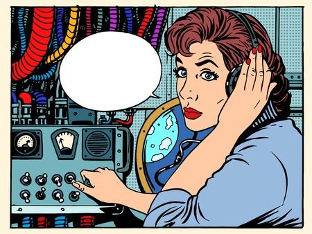 우주 비행사와 소녀 무선 공간 통신 기술의 복고풍 스타일의 팝. 임무 통제 센터. 관리자의 항공편을 제공합니다. 공상 과학 소설 공간과 행성 일러스트