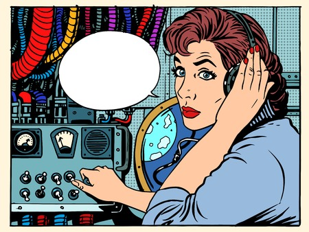retro radio: Girl radio space communications with astronauts pop art retro style. The mission control center. Manager flights. Science fiction space and planets