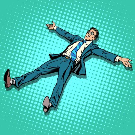 beine spreizen: Der Geschäftsmann ruht mit ausgestreckten Armen und Beinen Pop-Art Retro-Stil. Der Erfolg der Freude. Die Freude an der Arbeit. Urlaub oder freien Tag